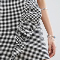 Missguided Gingham Ruffle Mini Skirt at asos.com