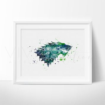 Game of Thrones, Stark House Crest Watercolor Art Print