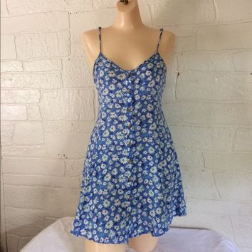 Vintage 90s Floral Sundress Summer Dress Size XS
