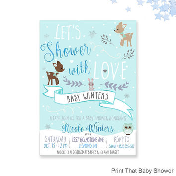 Winter Baby Shower Invitations   Woodland Winter Baby Shower, Pr