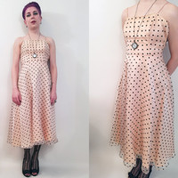 90s Clothing Party Dress Vintage 90s Party Dress Peach Dress Polka Dot Dress Cocktail Dress Summer Dress Spaghetti Strap Womens Size 4