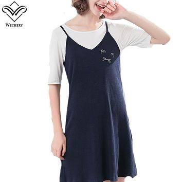 Wechery New Summer Sleeveless Spaghetti Nightgowns Women Sleepwear Cute Sweet Dress Sexy Soft For Girls Mini Sleep Dresses Suits