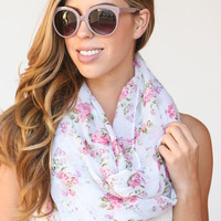 Vivian Pink Floral Infinity Scarf