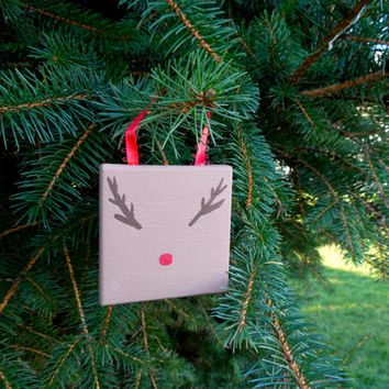 "Painted Rudolf Nose and Antler Reindeer Christmas Canvas Ornament 2.5""x2.5""x3/8"" with Ribbon to Hang"