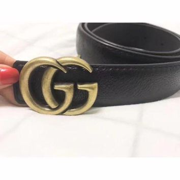 ONETOW Gucci' Women Simple Fashion All-match Retro Metal Double G Letter Needle Buckle Leather Belt Waistband