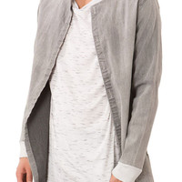 The Distressed Denim Long Shirt Jacket in Light Gray