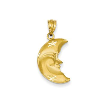 14k Yellow Gold Satin and Diamond Cut Crescent Moon Face Pendant