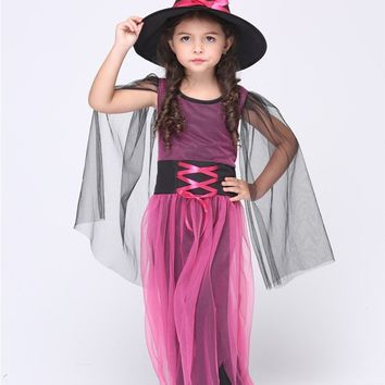 MOONIGHT Halloween Costumes Girl Black Fly Witch Costume Dress and Hat Party Cosplay Clothing for Kids Girl Children