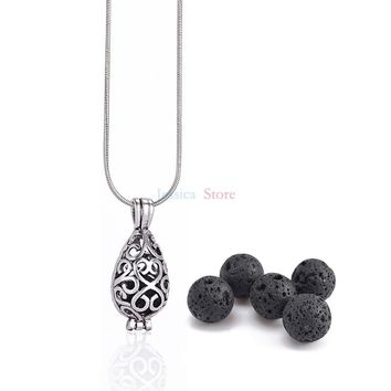1Pc  8mm Lava Stone Diffuser Hollow Locket Necklaces For Essential Oil Necklace Gift