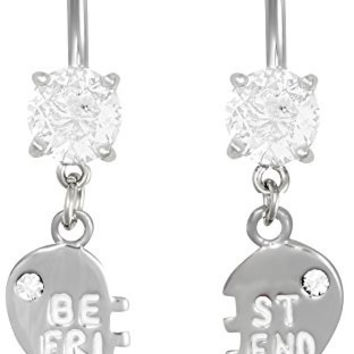 14g Surgical Steel Set of Best Friend Matching Dangle Heart Belly Button Rings
