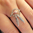 Pink Stone Dream Catcher Ring Wire Wrapped