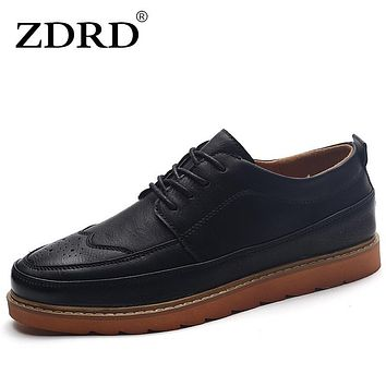 ZDRD New Men Brogues Shoes British Style Casual Men Leather Shoes Round Toe Business Shoes Classic Thick Heels Lace Up Men Flats