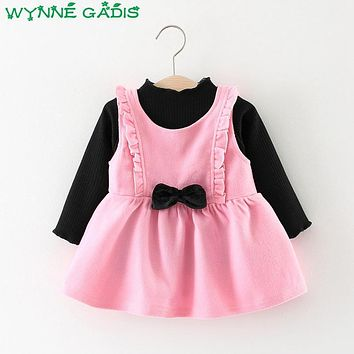 Winter Baby Girls Solid Sleeveless Princess Bow Pleated Tutu Sundress + T-shirt Kids Party Two Pieces Dress vestidos infantil