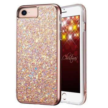 "iPhone 8 Case, iPhone 7 Case, MIRACASE Bling Sparkle Dual Layer Shockproof Hard PC Cover Soft TPU Inner Glitter Case for iPhone 7 /8 /6 /6S (4.7""), Rose Gold"