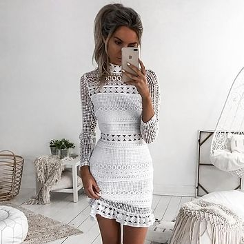 Sexy Long Sleeve High Neck White Lace Bodycon Party Dress