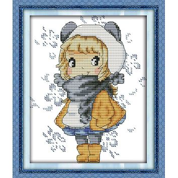 The girl with big eyes cross stitch kit 18ct 14ct 11ct count printed canvas stitching embroidery DIY handmade needlework