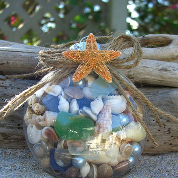 Starfish Sea Glass Seashell Pearl Holiday Ornament or Beach Wedding Favor