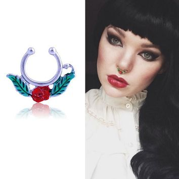 2016 Silver Plated Enamel Flower Fake Septum Fake Piercing Nose Ring For Women Body Jewelry