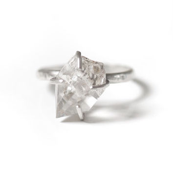 Rough Herkimer Diamond Sterling Silver Ring