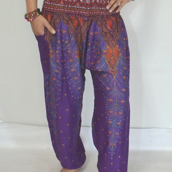 Thai Yoga Purple Mixes flowers color stripes Pants/Harem/ Boho Pants/Print flowers design/elastic waist/Comfy wear one size/Thailand.