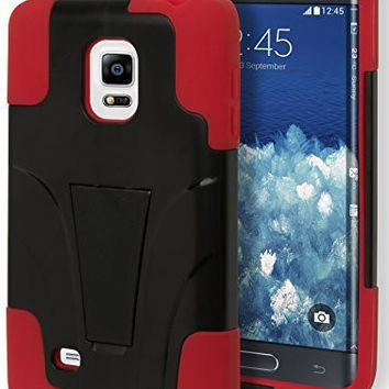 Samsung Galaxy Note Edge Hybrid Protective Durable Red Black Kickstand Case