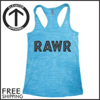 RAWR. Fitness Tank. Jurassic. Workout Top. Ligting. PiYo. Gym. Fitness. Burnout Tank Top. Motivation. Running. Crossfit. Yoga. Excercise.