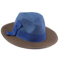 Color Block Straw Fedora Hat