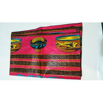 SALE - KENTE ANKARA African Print Head Wraps/Scarfs for Women - Blue and Pink - Ethnic Tribal