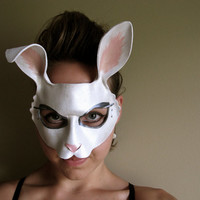 Easter Bunny Costume - White Rabbit Leather Mask - Alice in Wonderland - Ears - Masquerade - Halloween - Wall Hanging - Wedding Prop - Art