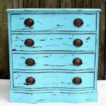 Antique Hand Painted Furniture Shabby Chic Storage French Cottage Wooden Bureau / Chest of Drawers Aqua