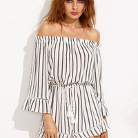 Black and White Striped Off The Shoulder Drawstring Jumpsuit -SheIn(Sheinside)