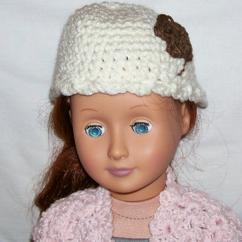 "AG CROCHET HANDMADE ACCESSORIES FOR 18/"" AMERICAN GIRL DOLL WHITE PINK BEANIE HAT"