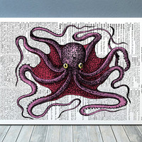 Nautical print Octopus poster Marine decor Beach house print RTA712