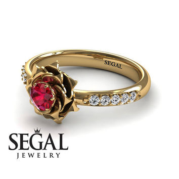 Unique Rose Engagement Ring Diamond ring 14K Yellow Gold Flower Vintage Antique Engagement Ring Ruby With Ruby - Elena