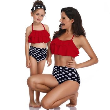 Red dot mother daughter swimwear family mommy and me swimsuits outfits mom daughter matching dresses clothes high waist bikini