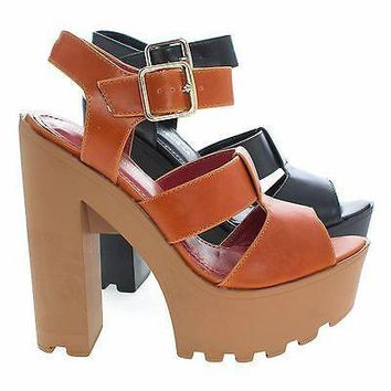 Fashion Online Freese Tan By Shoe Republic Chunky High Heel Lug Sole Platform Open Toe Sandal