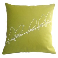 Supermarket: Pillow - Birds on a Wire - Spring Green from Ryan Green
