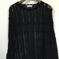 Floral Sheer Lace Long Sleeve Blouse