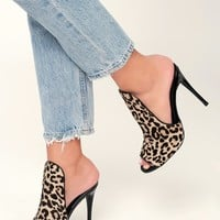 Sinful Leopard Cow Hair Peep-Toe Mules
