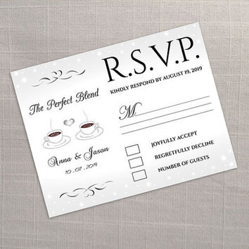 DIY Printable Wedding RSVP Template   Editable MS Word file   5.5 x 4.25   Instant Download   Silver Coffee Theme