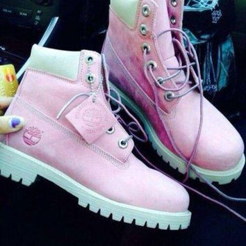 ONETOW Timberland Rhubarb boots for men and women shoes waterproof Martin boots lovers Pink-w