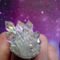 Faux Angel Aura crystal point druzy ring by lotusfairy on Etsy