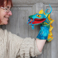 Hand puppet Blue Dragon, felted toy for children's theater,  Muppet style creative play, nursery toy, eco-friendly, OOAK