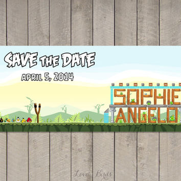 Wedding invitation Angry Birds - Save the Date - Digital file