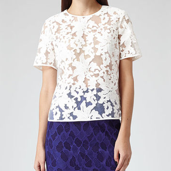 Orinoco Off White Sheer Lace Top - REISS