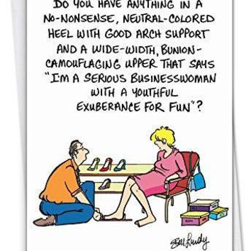 No-Nonsense Heel: Humorous Birthday Greeting Card, Funny Birthday Card - Free Shipping