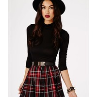 Missguided - Williane Tartan Pleated Skater Skirt In Red