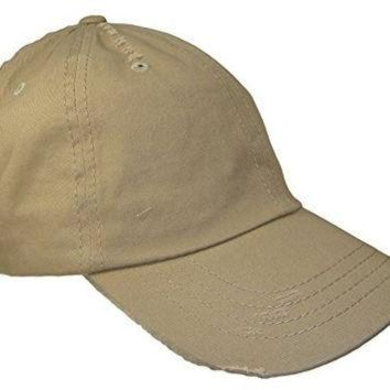 LMFON Distressed Weathered Vintage Polo Style Baseball Cap (One Size, Khaki Tan)