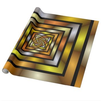 Luminous Tunnel Colorful Graphic Fractal Pattern Wrapping Paper