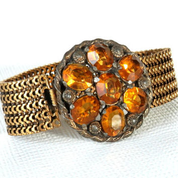 Etruscan Amber Glass Stone Bracelet with Gold Mesh Band